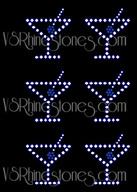 Martini Mini Glass Mini Rhinestone Transfers (6)
